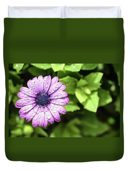Purple Flower On Green Duvet Cover