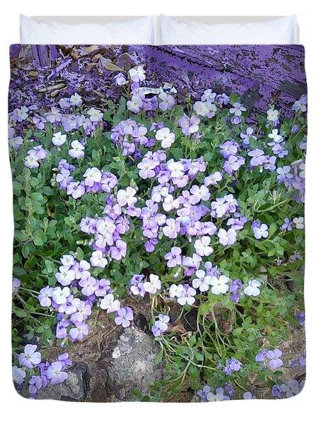 Purple Flower Textured Photo 1028b Duvet Cover