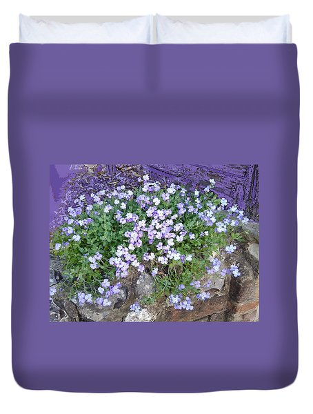 Purple Flower Textured Photo 1028b Duvet Cover