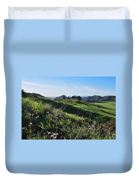 Duvet Cover featuring the photograph Purple Flowers And Green Hills Landscape by Matt Harang