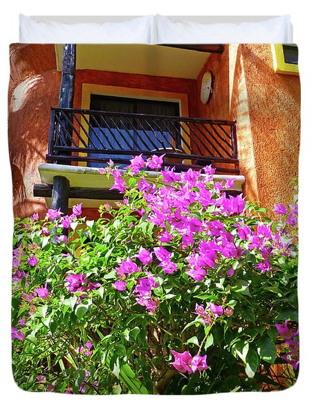 Duvet Cover featuring the photograph Purple Flowers By The Balcony by Francesca Mackenney