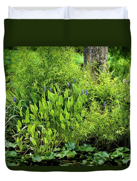 Purple Flowers By The Ponds Edge Duvet Cover