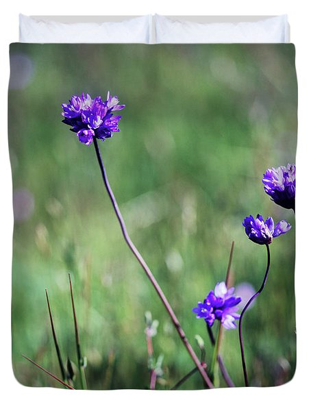 Duvet Cover featuring the photograph Purple Flowers by Jim and Emily Bush