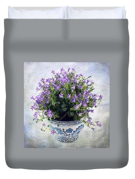 Purple Flowers In Pot Duvet Cover by Catherine Lau
