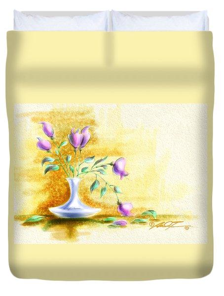 Purple Flowers In Vase Duvet Cover