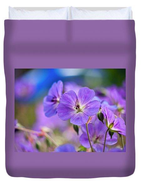 Purple Flowers Duvet Cover by Rae Tucker