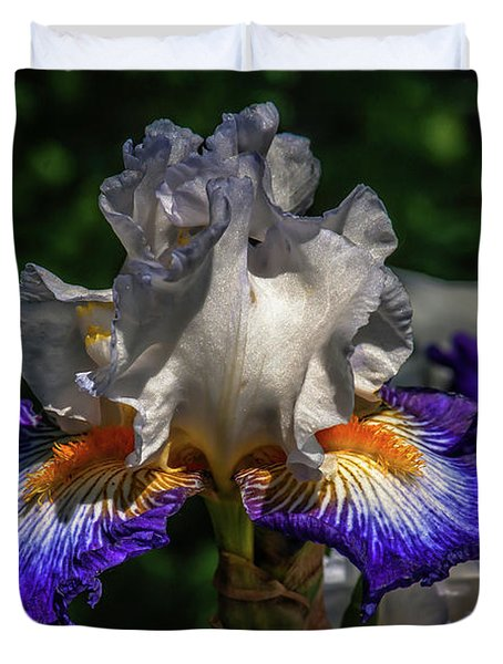 Purple Fringed White Iris Duvet Cover