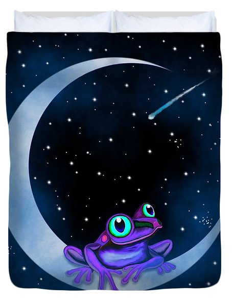 Purple Frog On A Crescent Moon Duvet Cover