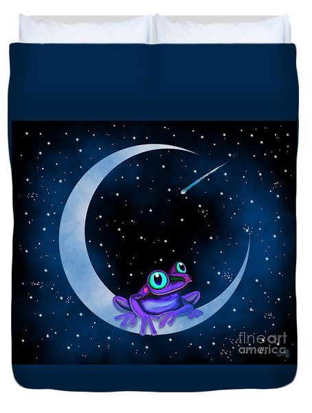 Duvet Cover featuring the painting Purple Frog On A Crescent Moon by Nick Gustafson