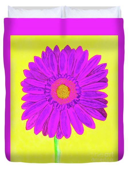 Purple  Gerbera On Yellow, Watercolor Duvet Cover