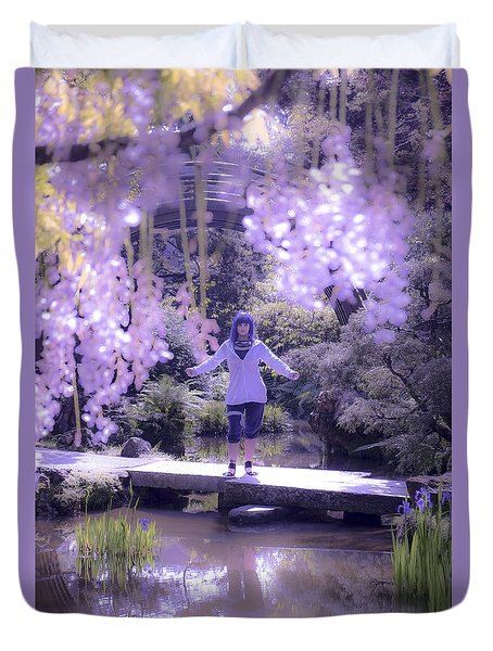 Purple Girl And Hydrangea Duvet Cover by Amy Fearn