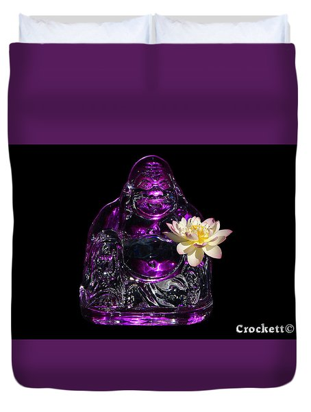 Purple Glass Buddah With Yellow Lotus Flower Duvet Cover