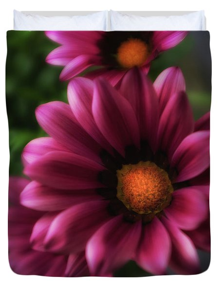 Duvet Cover featuring the photograph Purple Glow Flower by Ron White