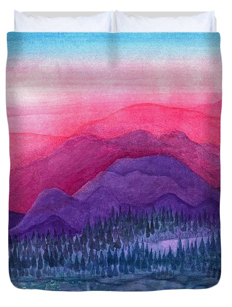 Purple Hills Duvet Cover by Adria Trail