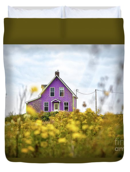 Purple House And Yellow Flowers Duvet Cover