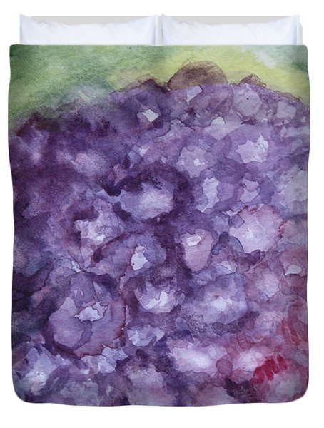 Duvet Cover featuring the painting Purple Hydrangea by Donna Walsh