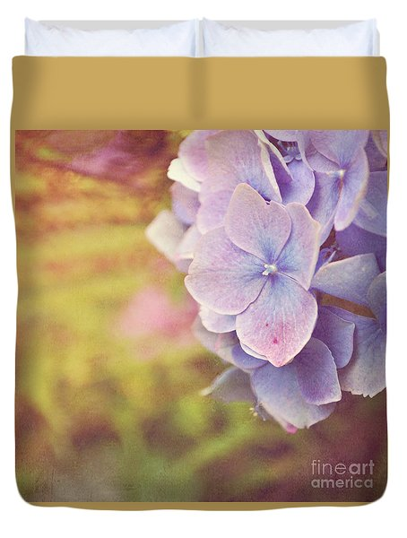 Duvet Cover featuring the photograph Purple Hydrangea by Lyn Randle