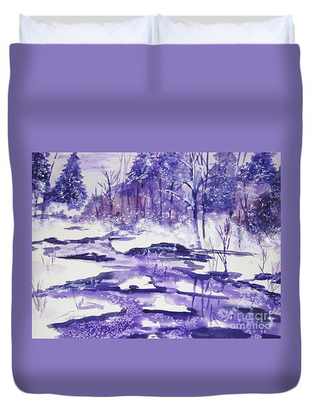Duvet Cover featuring the painting Purple Ice On Kaaterskill Creek by Ellen Levinson