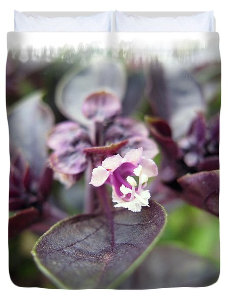 Duvet Cover featuring the photograph Purple In Autumn by Joan  Minchak