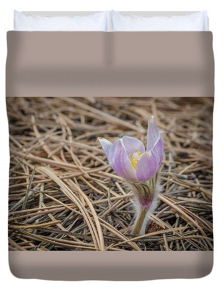 Purple In The Pine Duvet Cover