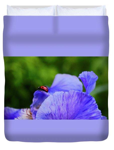 Purple Iris And Ladybug Duvet Cover