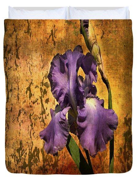 Purple Iris At Sunset Duvet Cover by Bellesouth Studio