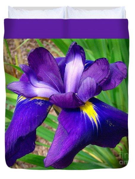 Purple Iris Beauty Duvet Cover by Sue Melvin