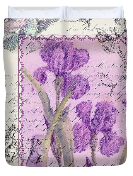 Duvet Cover featuring the drawing Purple Iris by Cathie Richardson