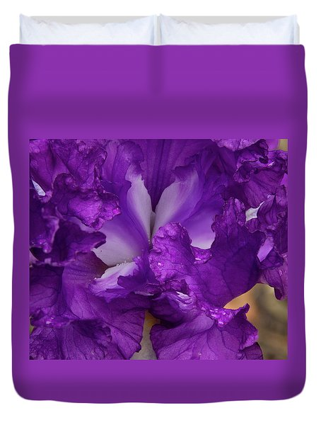Duvet Cover featuring the photograph Purple Iris Close Up by Jean Noren