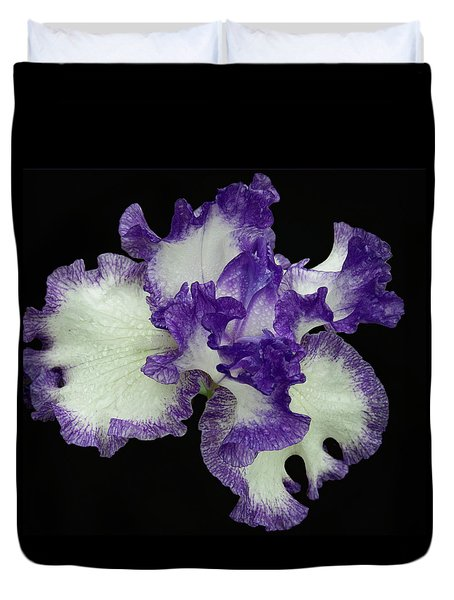 Duvet Cover featuring the photograph Purple Iris Frills by Jean Noren