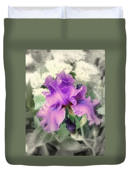 Duvet Cover featuring the photograph Purple Iris In Focal Black And White by Margie Avellino
