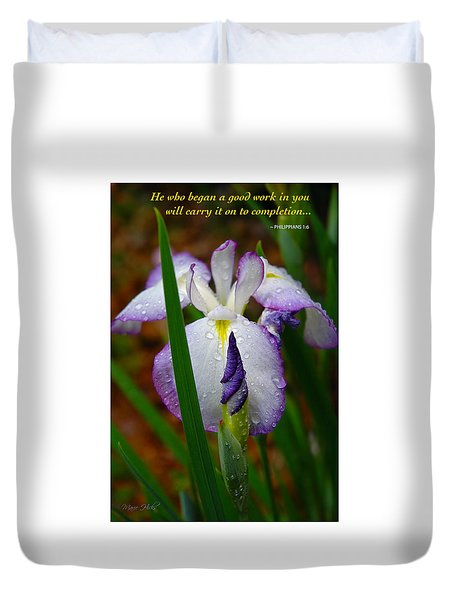 Purple Iris In Morning Dew Duvet Cover by Marie Hicks