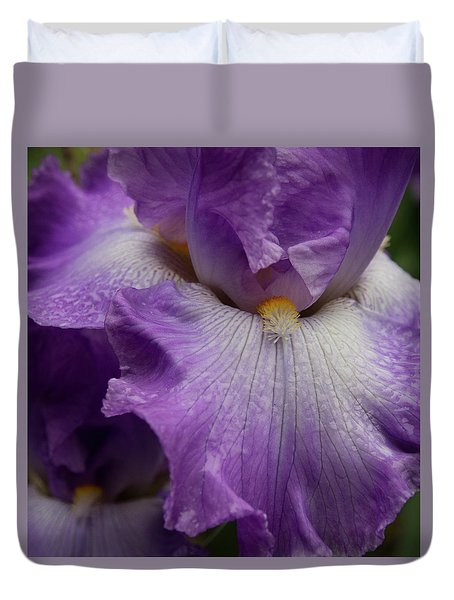 Duvet Cover featuring the photograph Purple Iris by Jean Noren