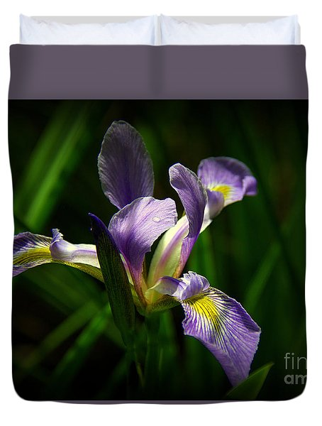 Duvet Cover featuring the photograph Purple Iris by Lisa L Silva