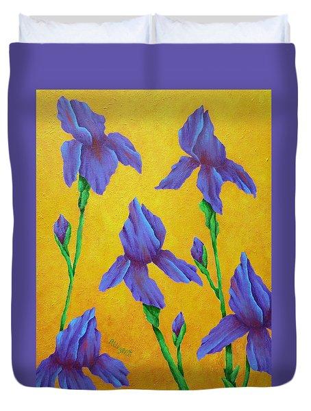 Purple Iris Duvet Cover by Pamela Allegretto