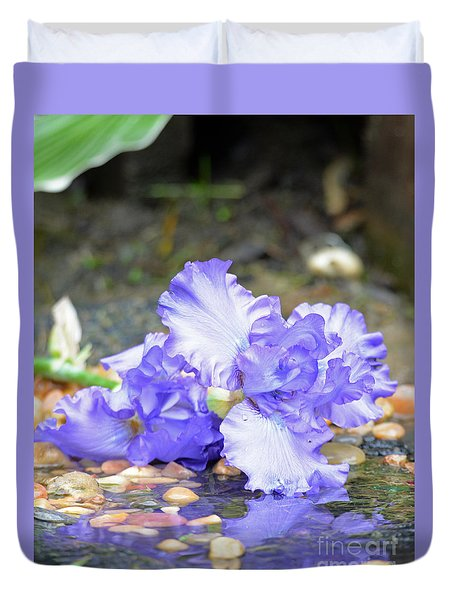 Purple Iris Reflection Duvet Cover