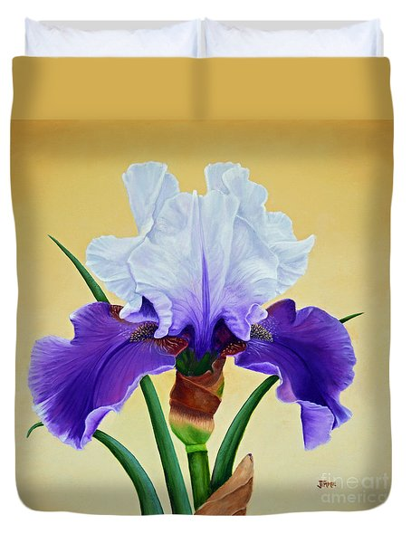 Purple Iris With White Tops Duvet Cover by Jimmie Bartlett