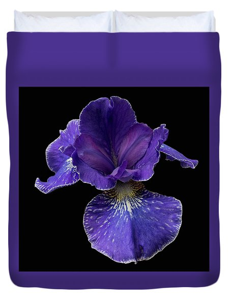 Duvet Cover featuring the photograph Purple Japanese Iris by Jean Noren