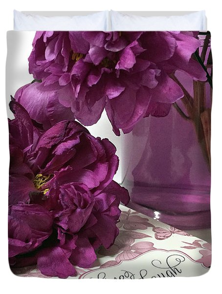 Purple Lavender Peonies - Live Laugh Love Inspirational Peony Print Home Decor  Duvet Cover
