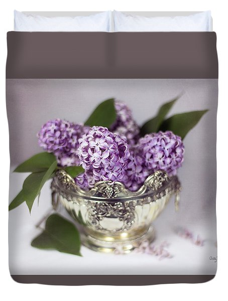 Purple Lilacs In Silver Bowl Duvet Cover