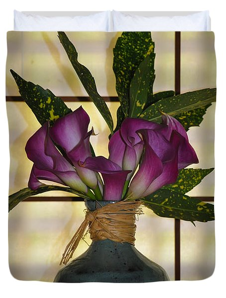 Purple Lilies In Japanese Vase Duvet Cover by Bill Cannon