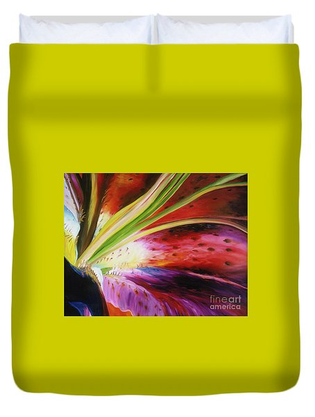 Duvet Cover featuring the painting Purple Lily by Donna Hall