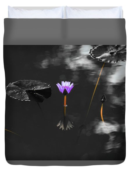 Purple Lily In Black And White Duvet Cover