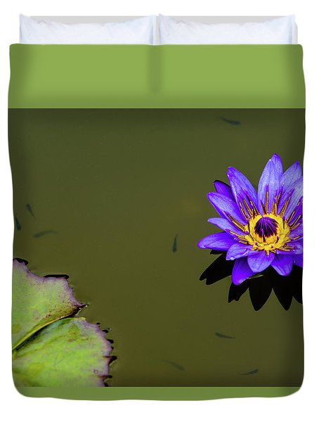 Purple Lily With Tiny Fish Duvet Cover