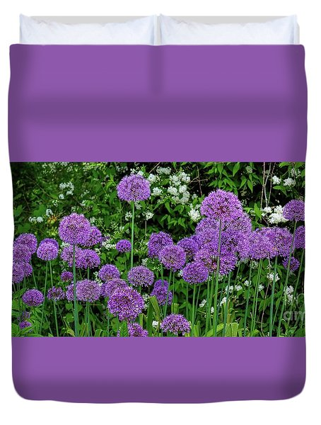 Duvet Cover featuring the photograph Purple Lollipops by Henry Kowalski
