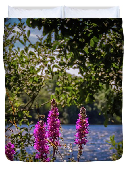 Duvet Cover featuring the photograph Purple Loosestrife In The Irish Countryside by James Truett