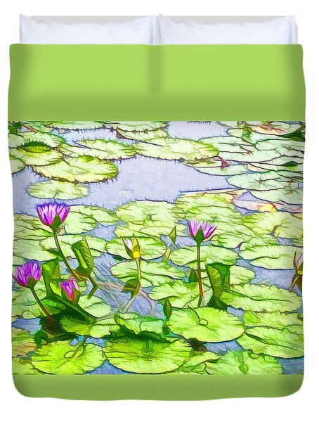 Purple Lotus Flower  Duvet Cover by Lanjee Chee