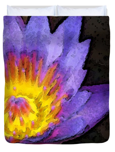 Purple Lotus Flower - Zen Art Painting Duvet Cover by Sharon Cummings