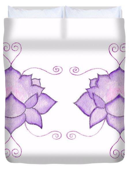 Purple Lotus II Duvet Cover