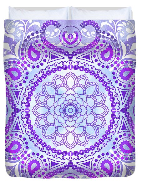Duvet Cover featuring the digital art Purple Lotus Mandala by Tammy Wetzel